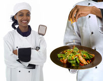 Collage of chef and sprinkling cheese on salad. Collage of chef with spatula and chef sprinking cheese on healthy salad isolated on white Royalty Free Stock Photo
