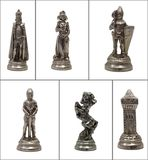 Collage Chess pieces on white Royalty Free Stock Photo