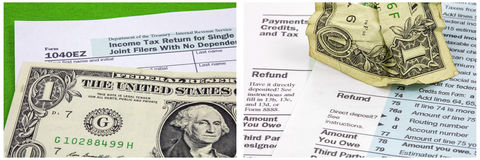 Collage chiffonné d'effort de feuilles d'impôt de billet d'un dollar photos stock