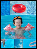 Collage of a child in the pool Royalty Free Stock Photography