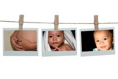 Collage of a child  templates hang on a rope. Over white background Stock Photos