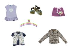 Collage of children clothes. Concept spring and summer clothes. Isolated on white. Close up Royalty Free Stock Photo
