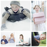 Collage of children doing different activities Stock Photo