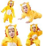 Collage of children,dressed in lion carnival suit, isolated on white background. Baby zodiac - sign Leo. The concept of childhood and holiday royalty free stock photo