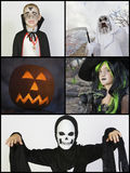 Collage of children in Halloween costumes Stock Image