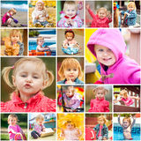 Collage children playing Royalty Free Stock Photo
