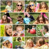 Collage children rest emotions Royalty Free Stock Photo
