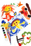 Collage of children's drawings Royalty Free Stock Photos