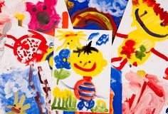 Collage of children's drawings Stock Photo
