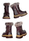 Collage of children's winter boots Royalty Free Stock Photo