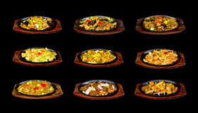 Collage with chinese food on pan. On black background royalty free stock photo