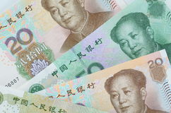 Collage of Chinese Rmb banknotes or Yuan Stock Images