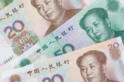 Collage of Chinese Rmb banknotes or Yuan Stock Image