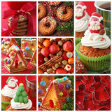 Collage christmas cakes. On red Royalty Free Stock Images