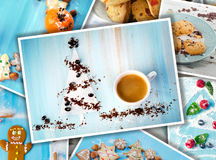 Collage of Christmas coffee and cookies. Royalty Free Stock Photography