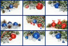 Collage of Christmas compositions with decorations, presents and stock image