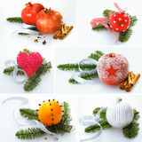 Collage of Christmas decorations. Collage of different colourful festive Christmas decorations on sprays of pine including pomegranate, frosted apple, orange and Royalty Free Stock Photo