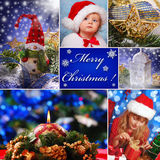 Collage with christmas decorations and children in santa hat Royalty Free Stock Photos