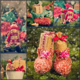 Collage Christmas decorations gifts spruce santa claus snow snow Royalty Free Stock Images