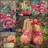 Collage Christmas decorations gifts spruce santa claus snow snow Stock Photos