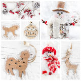 Collage of christmas decorative toys Royalty Free Stock Photography