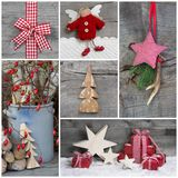 Collage of Christmas photos and decorations on grey wooden backg Royalty Free Stock Images