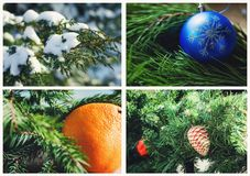 A collage of Christmas pictures. Beautiful winter background. A collage of Christmas pictures. Beautiful trendy winter background royalty free stock photos