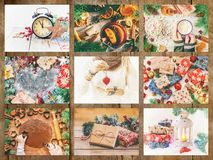 Collage of Christmas pictures. Holidays and events. New year royalty free stock photos