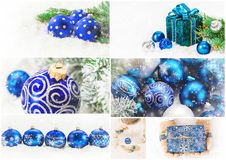 Collage of Christmas pictures. Holidays and events. New year royalty free stock photo