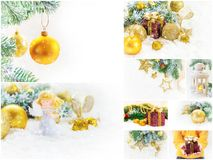 Collage of Christmas pictures. Holidays and events. New year stock photography