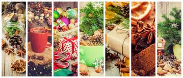 Collage of Christmas pictures. Holidays and events. Decoration royalty free stock image