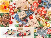 Collage of Christmas pictures. Holidays and events. New year stock photos