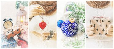 Collage of Christmas pictures. Holidays and events. New year stock photo