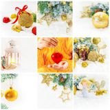 Collage of Christmas pictures. Holidays and events. New year stock images