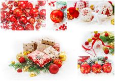 Collage of Christmas pictures. Holidays and events. New year royalty free stock images