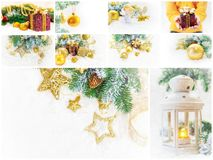 Collage of Christmas pictures. Holidays and events. New year royalty free stock image