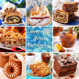 Collage with christmas sweets. Collage with many photos of sweet cakes and desserts for christmas Royalty Free Stock Images