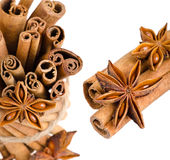 Collage of cinnamon and anise Royalty Free Stock Image