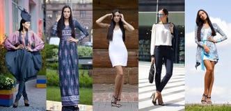 Collage cinq jeunes femmes de mode photos stock