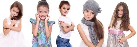 Collage, cinque bambine felici Fotografie Stock