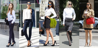 Collage cinque donne di affari Immagine Stock