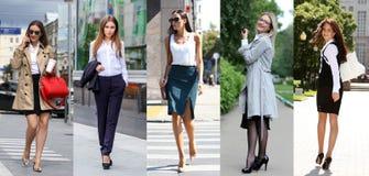 Collage cinque donne di affari Fotografia Stock Libera da Diritti