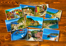 Collage of Cinque Terre photos in Italy Royalty Free Stock Photography