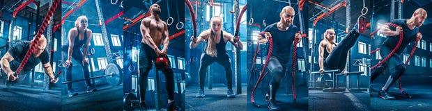 Collage circa gli esercizi nella palestra di forma fisica immagini stock libere da diritti