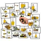 Collage circa l'olio di oliva Fotografia Stock