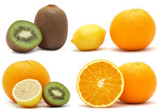 Collage from citrus and kiwi Royalty Free Stock Images