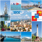 Collage of the city of Sochi Stock Image