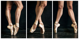 Collage of classic ballerina's legs in pointes on Stock Photo