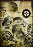 Collage of clocks on vintage background Stock Photo