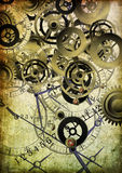 Collage of clocks on vintage background Royalty Free Stock Photography